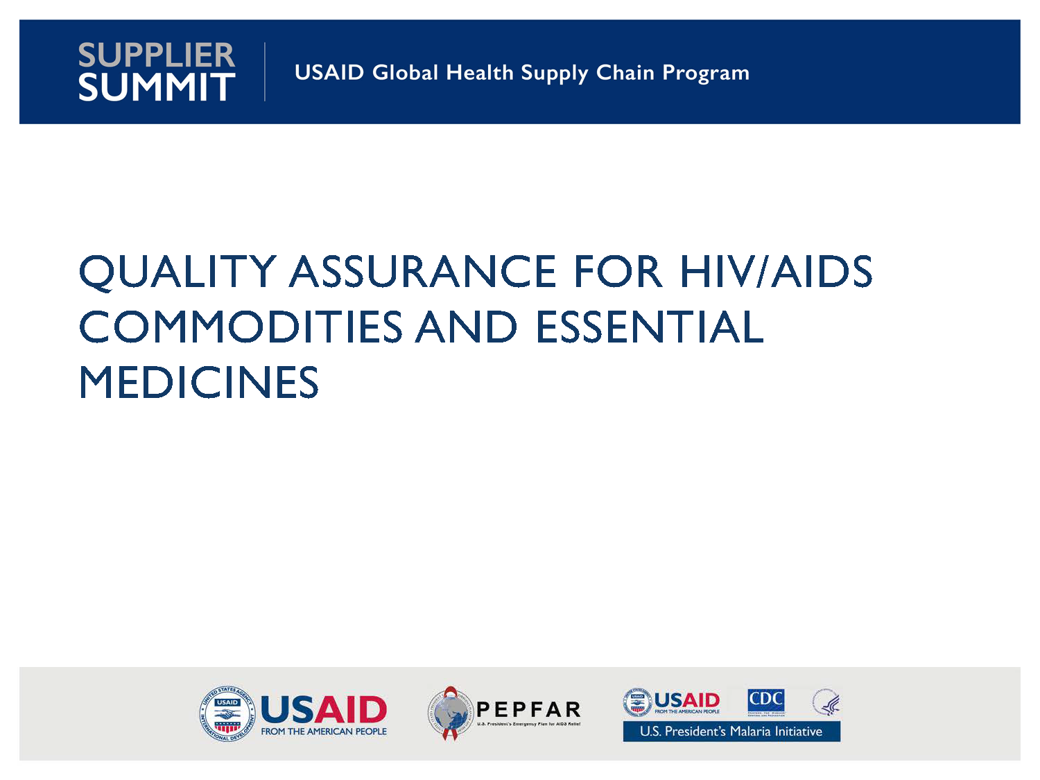 Cover Quality Assurance for HIV/AIDS Commodities