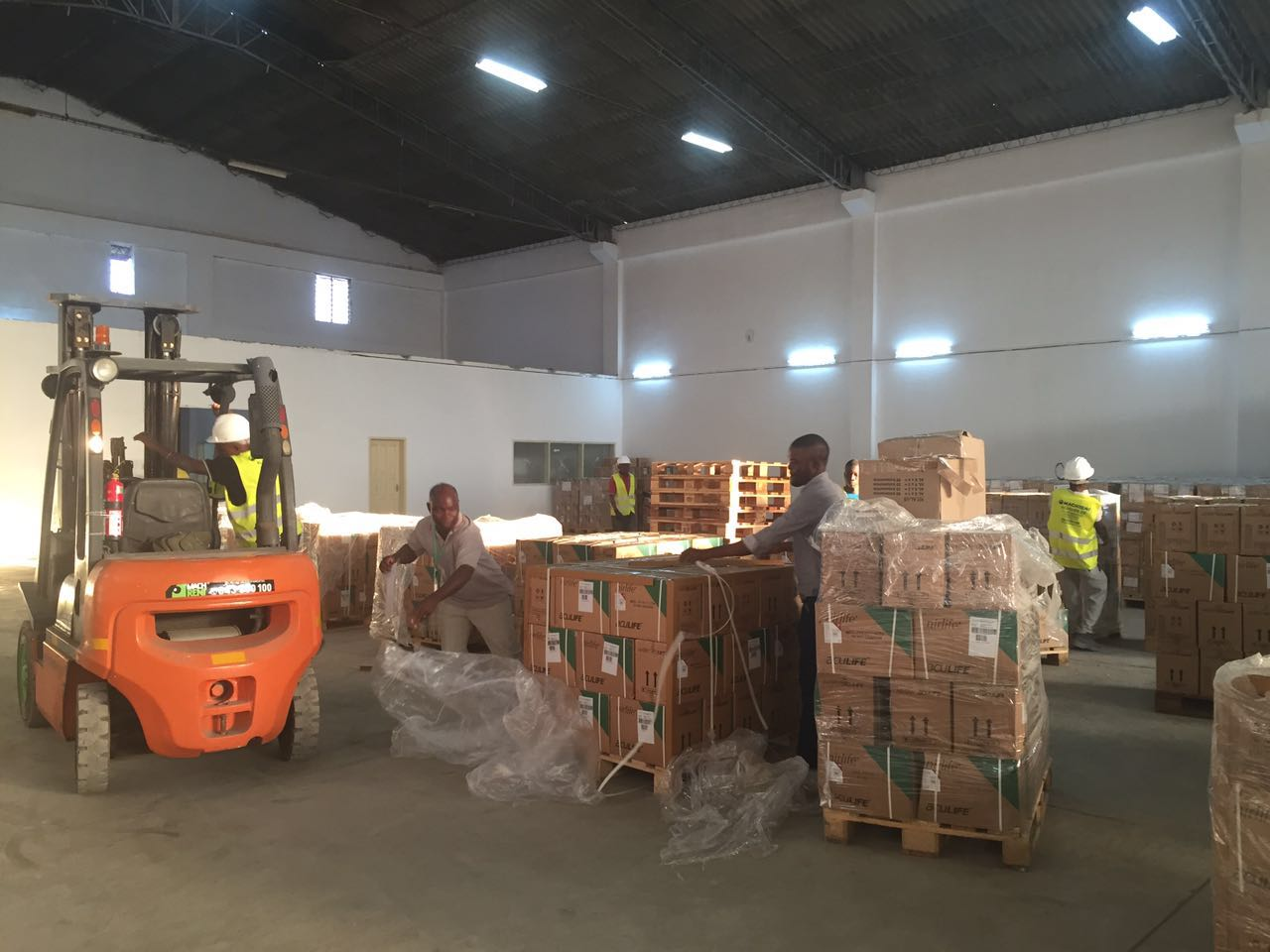 Workers move boxes in a warehouse in Mozambique.