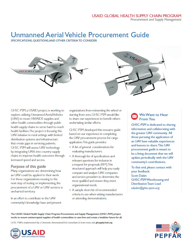 GHSC-PSM Releases Unmanned Aerial Vehicle Procurement Guide