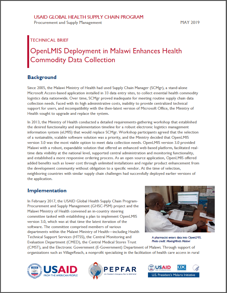 cover page of 2019 technical brief from Malawi