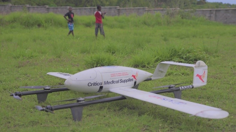 Drone sitting on ground between flights in Malawi