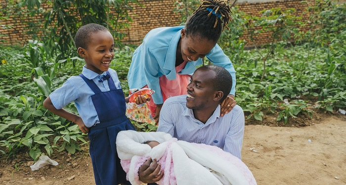 Image of JP Hategekimana Supply Chain Hero in Rwanda and his family