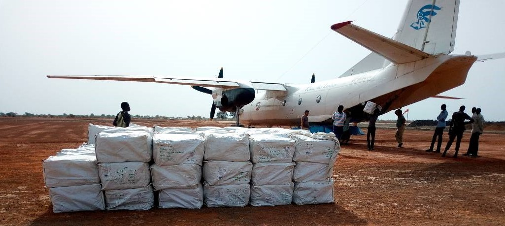 Image of plane delivering LLINs in South Sudan