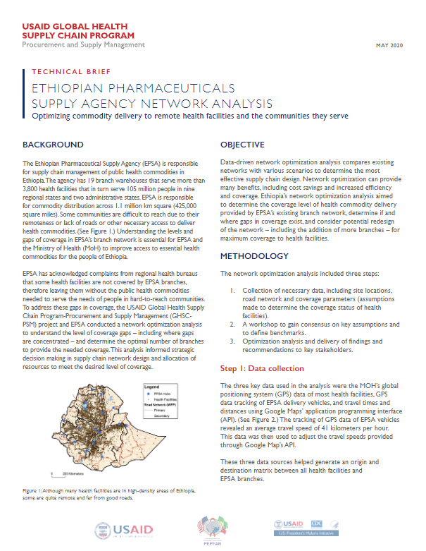 Ethiopian Pharmaceuticals Supply Agency Network Analysis