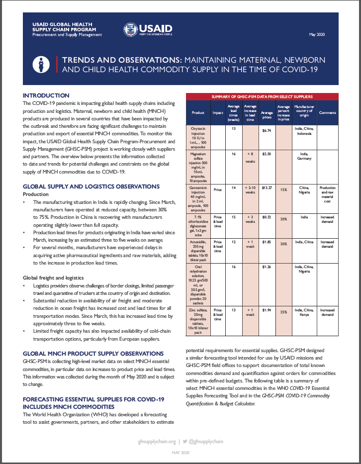 Page 1, MNCH in the time of COVID-19 fact sheet, text and table