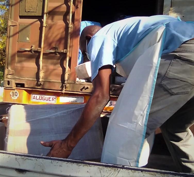 Mozambique PPE unloading photo