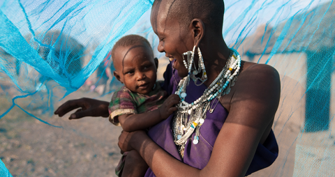 Mother & Child with Malaria Netting in Tanzania