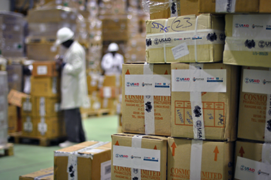 USAID marked carton of commodities in warehouse
