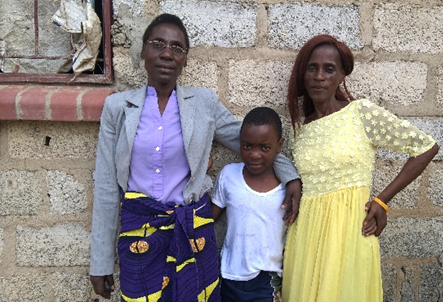 Catherine Nalungwe (left) has been on HIV treatment since 2004. Currently prescribed TLE, she is pictured here with her son, Richard, and her sister, Juliet Nalungwe, who is also living with HIV.